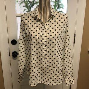 J.Crew ivory shadow dot print half button blouse